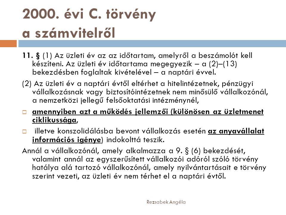2000.évi C. törvény a számvitelről 11.