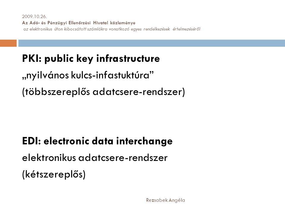 """PKI: public key infrastructure """"nyilvános kulcs-infastuktúra (többszereplős adatcsere-rendszer) EDI: electronic data interchange elektronikus adatcsere-rendszer (kétszereplős) Rezsabek Angéla 2009.10.26."""