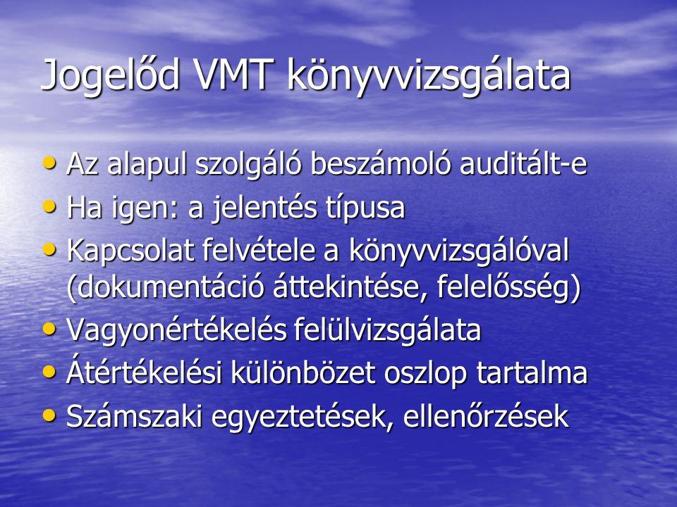 Jogelőd VMT könyvvizsgálata Az alapul szolgáló beszámoló auditált-e Az alapul szolgáló beszámoló auditált-e Ha igen: a jelentés típusa Ha igen: a jele