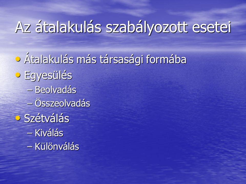 Jegyzett tőke korrekciói: Jogelőd jegyzett tőkéje (+) Jogelőd jegyzett tőkéje (+) Új ill.