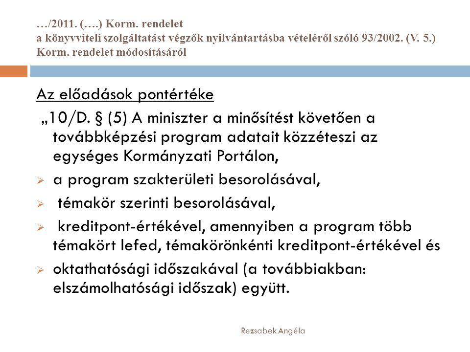 …/2011. (….) Korm. rendelet a könyvviteli szolgáltatást végzők nyilvántartásba vételéről szóló 93/2002. (V. 5.) Korm. rendelet módosításáról Rezsabek