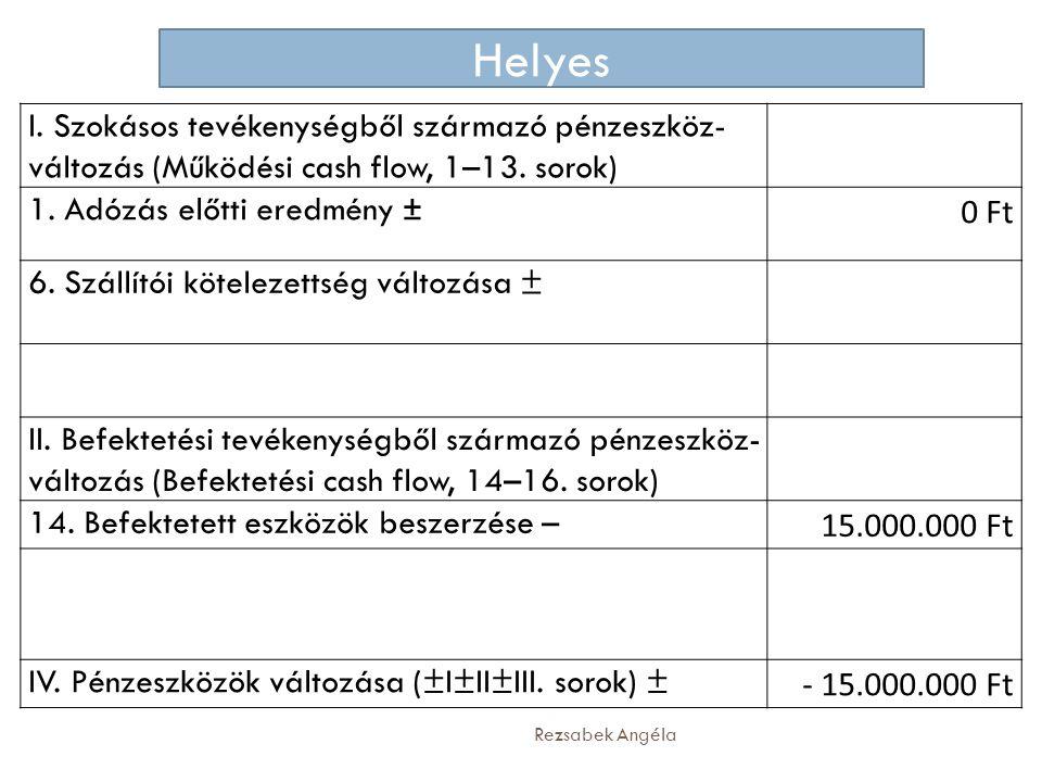 Rezsabek Angéla I. Szokásos tevékenységből származó pénzeszköz- változás (Működési cash flow, 1–13. sorok) 1. Adózás előtti eredmény ± 0 Ft 6. Szállít
