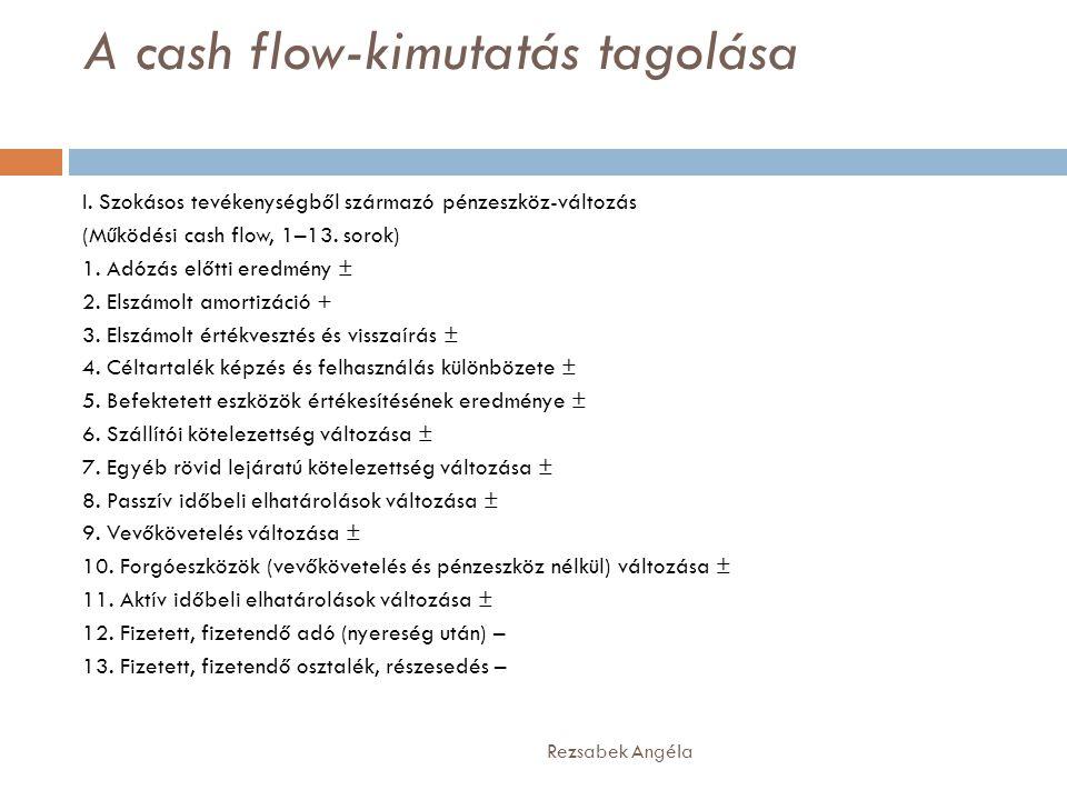 A cash flow-kimutatás tagolása Rezsabek Angéla I. Szokásos tevékenységből származó pénzeszköz-változás (Működési cash flow, 1–13. sorok) 1. Adózás elő