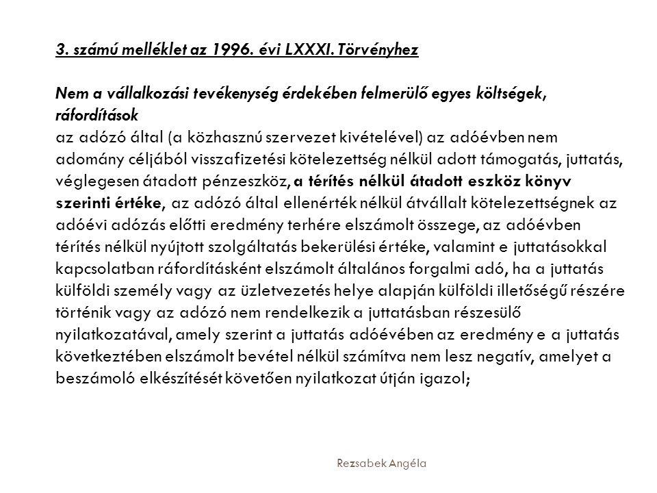 3. számú melléklet az 1996. évi LXXXI. Törvényhez Nem a vállalkozási tevékenység érdekében felmerülő egyes költségek, ráfordítások az adózó által (a k