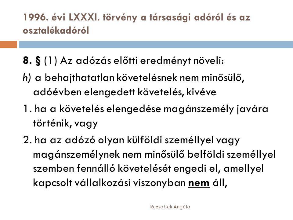 1996. évi LXXXI. törvény a társasági adóról és az osztalékadóról Rezsabek Angéla 8. § (1) Az adózás előtti eredményt növeli: h) a behajthatatlan követ