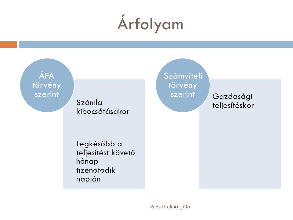Árfolyam Rezsabek Angéla Számla kibocsátásakor Legkésőbb a teljesítést követő hónap tizenötödik napján ÁFA törvény szerint Gazdasági teljesítéskor Szá