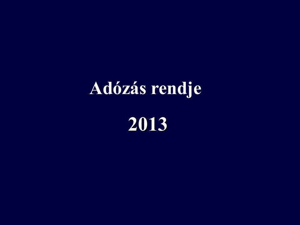 2013 Adózás rendje