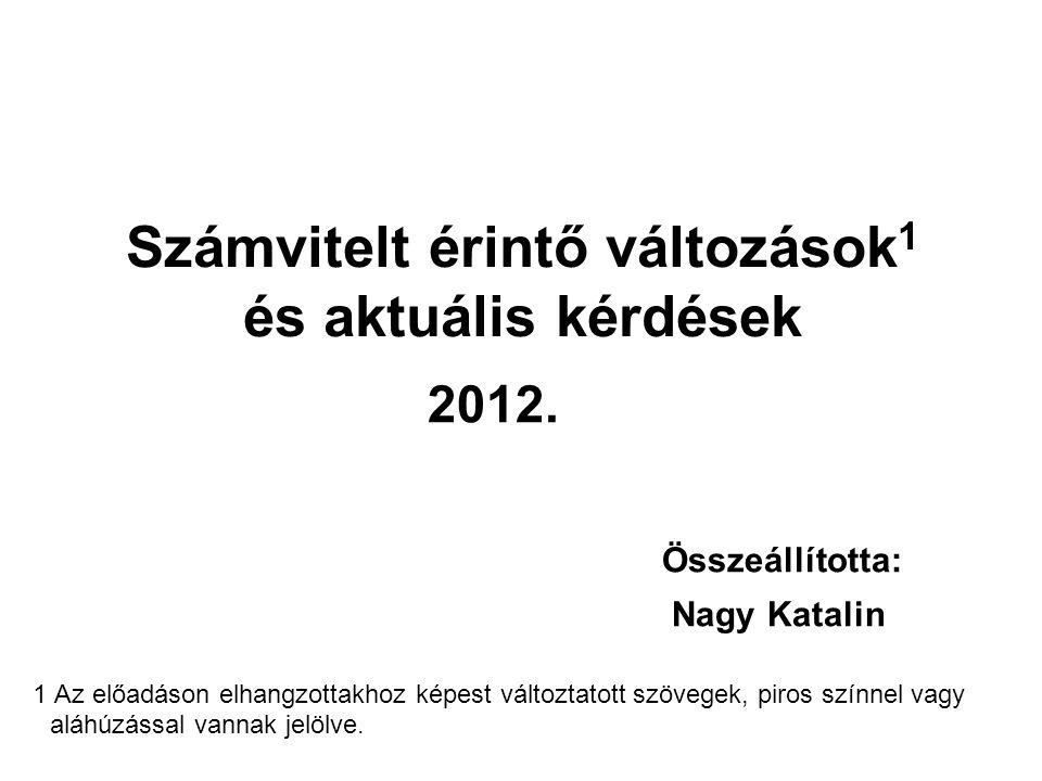 Számvitelt érintő változások 1 és aktuális kérdések 2012. Összeállította: Nagy Katalin 1 Az előadáson elhangzottakhoz képest változtatott szövegek, pi