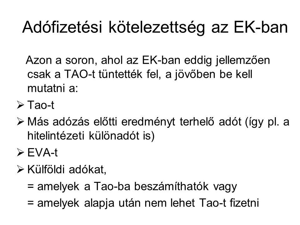 Adófizetési kötelezettség az EK-ban Azon a soron, ahol az EK-ban eddig jellemzően csak a TAO-t tüntették fel, a jövőben be kell mutatni a:  Tao-t  M