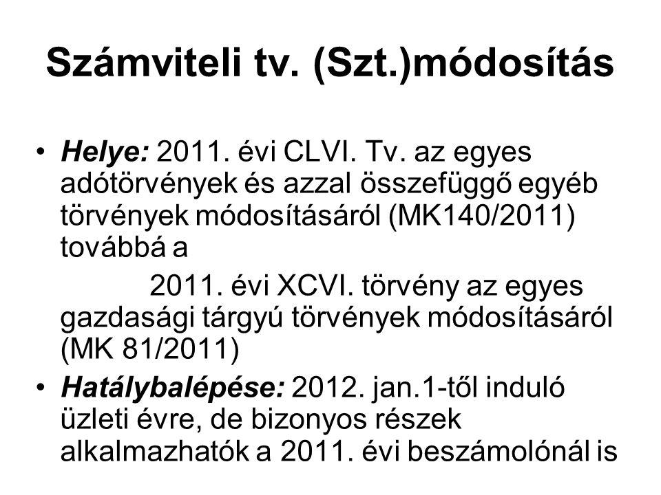 Számviteli tv. (Szt.)módosítás Helye: 2011. évi CLVI. Tv. az egyes adótörvények és azzal összefüggő egyéb törvények módosításáról (MK140/2011) továbbá