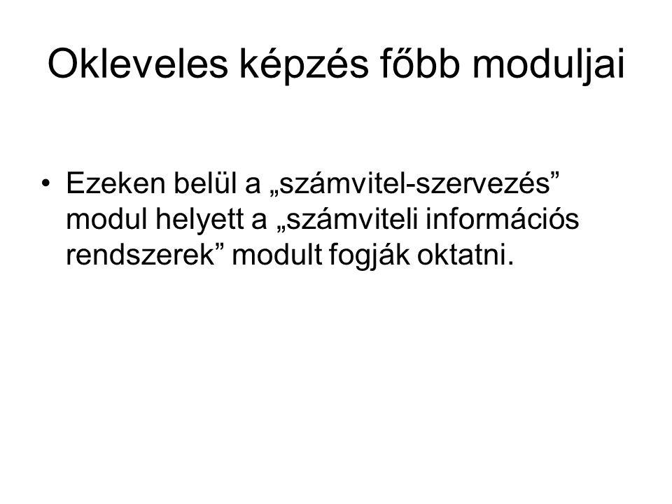"""Okleveles képzés főbb moduljai Ezeken belül a """"számvitel-szervezés"""" modul helyett a """"számviteli információs rendszerek"""" modult fogják oktatni."""