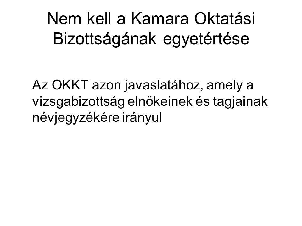 Nem kell a Kamara Oktatási Bizottságának egyetértése Az OKKT azon javaslatához, amely a vizsgabizottság elnökeinek és tagjainak névjegyzékére irányul