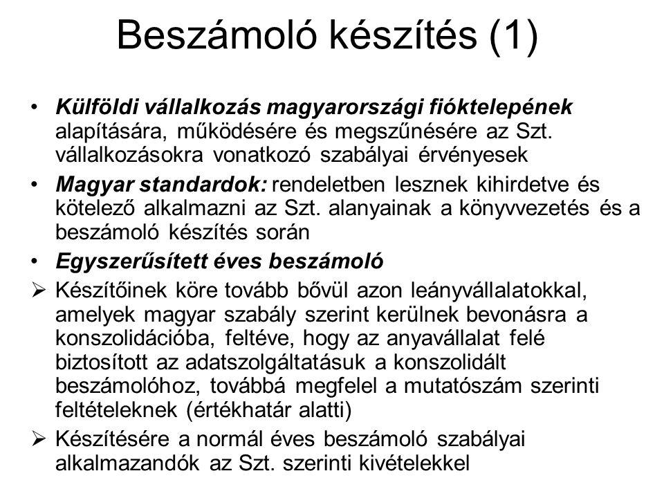 Beszámoló készítés (1) Külföldi vállalkozás magyarországi fióktelepének alapítására, működésére és megszűnésére az Szt. vállalkozásokra vonatkozó szab