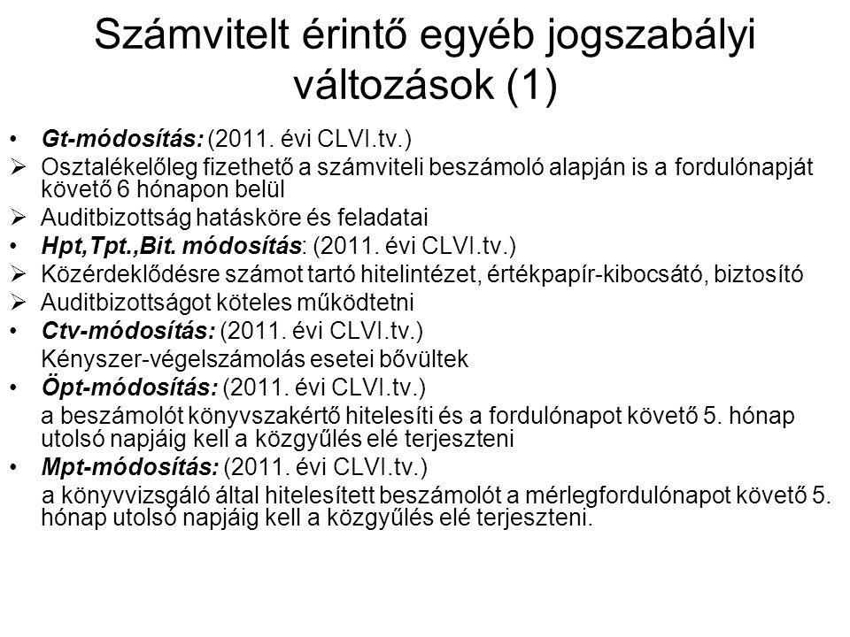 Számvitelt érintő egyéb jogszabályi változások (1) Gt-módosítás: (2011. évi CLVI.tv.)  Osztalékelőleg fizethető a számviteli beszámoló alapján is a f