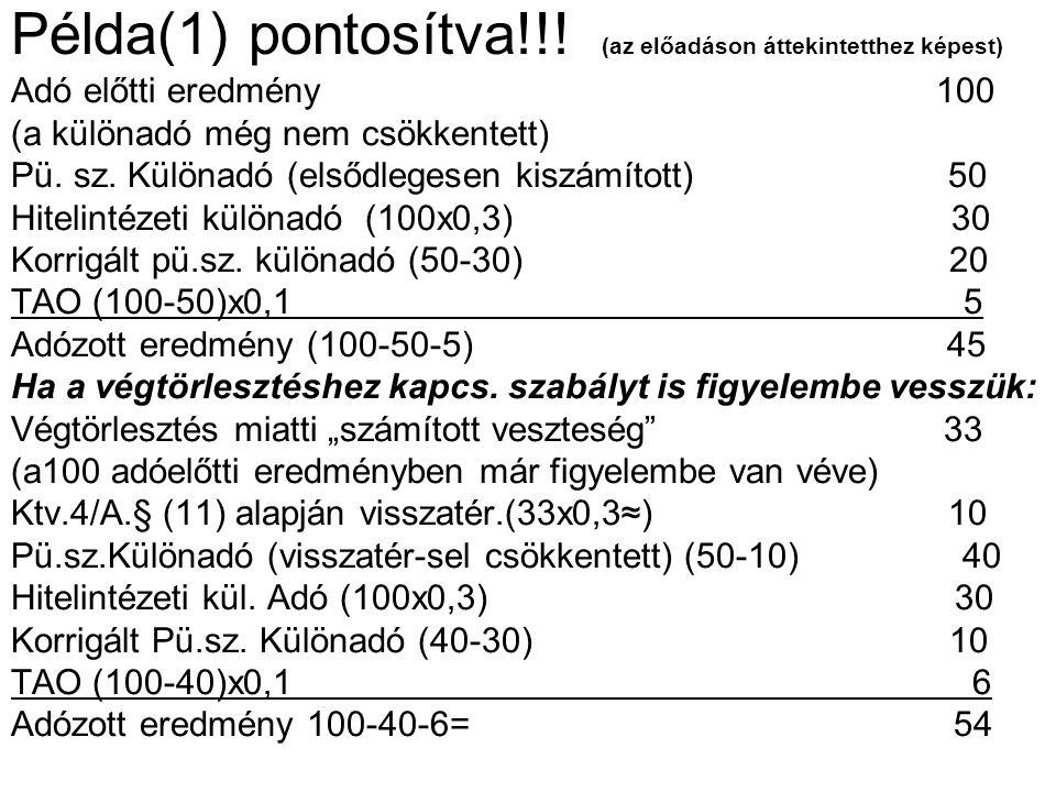Példa(1) pontosítva!!! (az előadáson áttekintetthez képest) Adó előtti eredmény 100 (a különadó még nem csökkentett) Pü. sz. Különadó (elsődlegesen ki