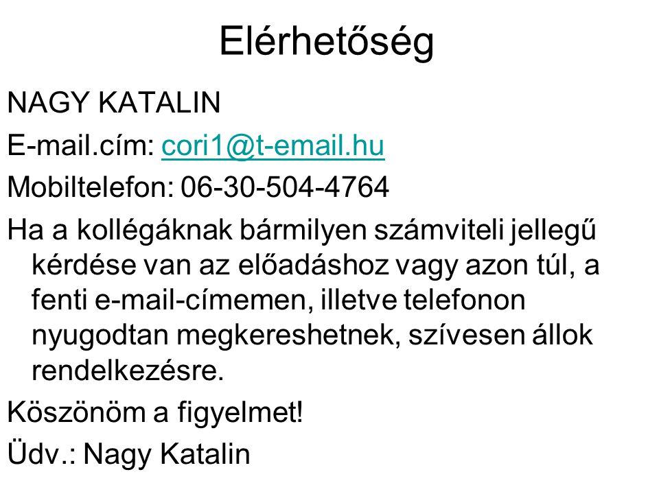 Elérhetőség NAGY KATALIN E-mail.cím: cori1@t-email.hucori1@t-email.hu Mobiltelefon: 06-30-504-4764 Ha a kollégáknak bármilyen számviteli jellegű kérdé