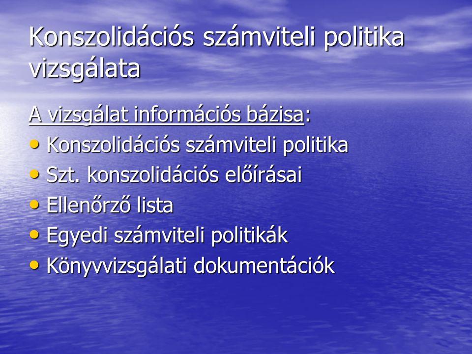 Konszolidációs számviteli politika vizsgálata A vizsgálat információs bázisa: Konszolidációs számviteli politika Konszolidációs számviteli politika Sz