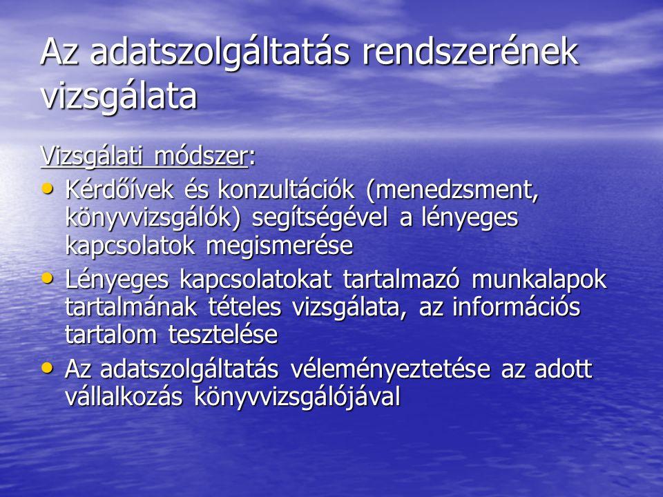Az adatszolgáltatás rendszerének vizsgálata Vizsgálati módszer: Kérdőívek és konzultációk (menedzsment, könyvvizsgálók) segítségével a lényeges kapcso