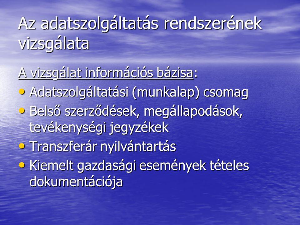 Az adatszolgáltatás rendszerének vizsgálata A vizsgálat információs bázisa: Adatszolgáltatási (munkalap) csomag Adatszolgáltatási (munkalap) csomag Be