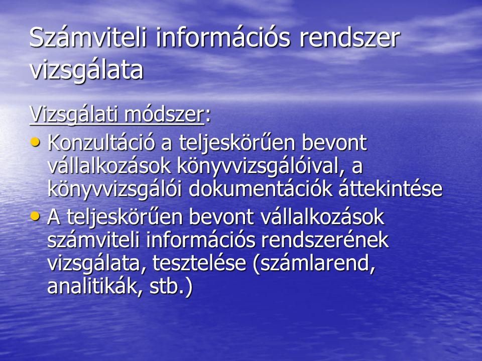 Számviteli információs rendszer vizsgálata Vizsgálati módszer: Konzultáció a teljeskörűen bevont vállalkozások könyvvizsgálóival, a könyvvizsgálói dok