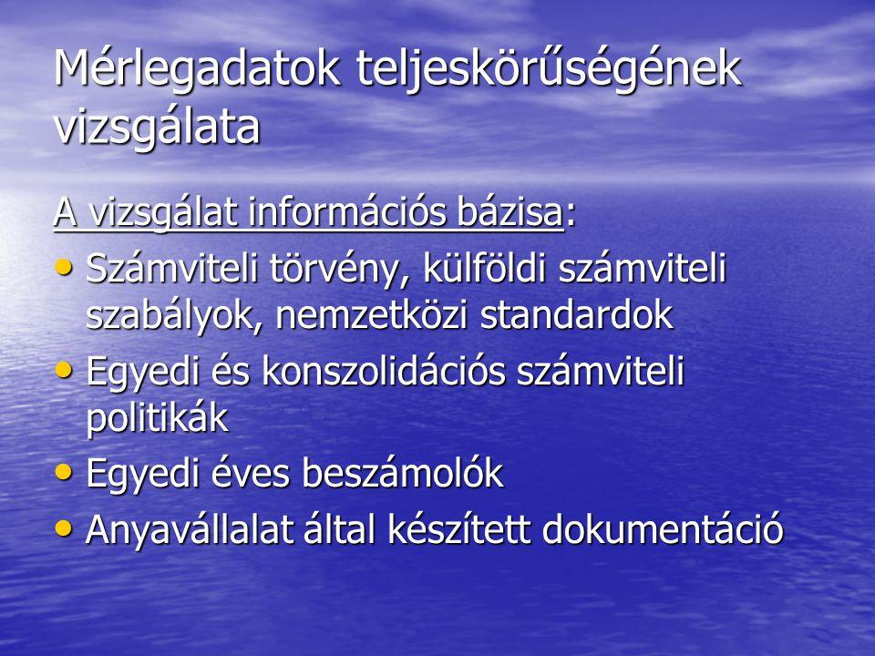 Mérlegadatok teljeskörűségének vizsgálata A vizsgálat információs bázisa: Számviteli törvény, külföldi számviteli szabályok, nemzetközi standardok Szá