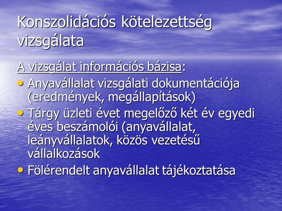 Konszolidációs kötelezettség vizsgálata A vizsgálat információs bázisa: Anyavállalat vizsgálati dokumentációja (eredmények, megállapítások) Anyavállal