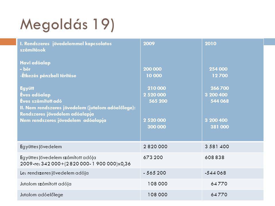Megoldás 19) I. Rendszeres jövedelemmel kapcsolatos számítások Havi adóalap - bér -Étkezés pénzbeli térítése Együtt Éves adóalap Éves számított adó II