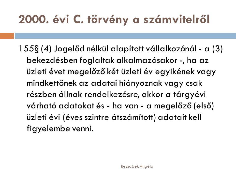 2000. évi C. törvény a számvitelről Rezsabek Angéla 155§ (4) Jogelőd nélkül alapított vállalkozónál - a (3) bekezdésben foglaltak alkalmazásakor -, ha