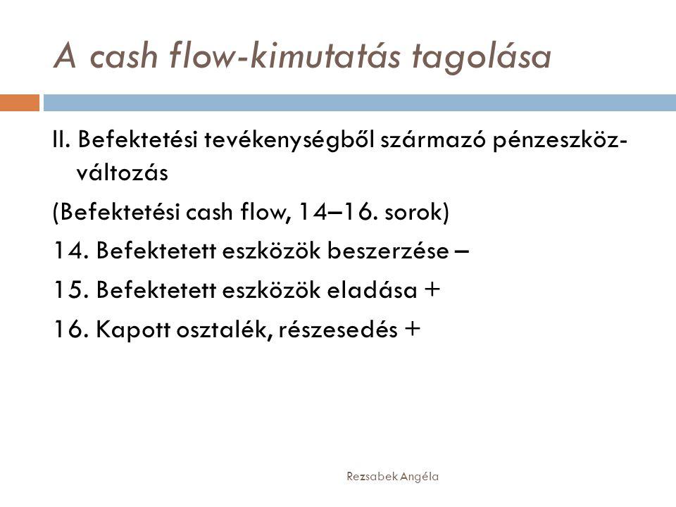 A cash flow-kimutatás tagolása Rezsabek Angéla II. Befektetési tevékenységből származó pénzeszköz- változás (Befektetési cash flow, 14–16. sorok) 14.