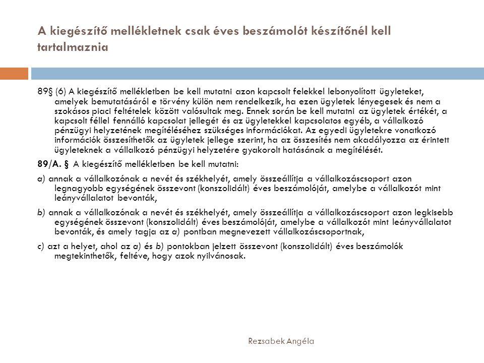 A kiegészítő mellékletnek csak éves beszámolót készítőnél kell tartalmaznia Rezsabek Angéla 89§ (6) A kiegészítő mellékletben be kell mutatni azon kap