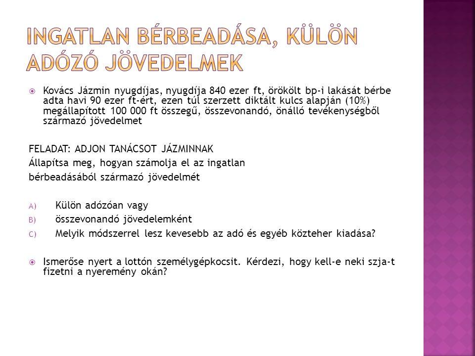  Kovács Jázmin nyugdíjas, nyugdíja 840 ezer ft, örökölt bp-i lakását bérbe adta havi 90 ezer ft-ért, ezen túl szerzett diktált kulcs alapján (10%) me