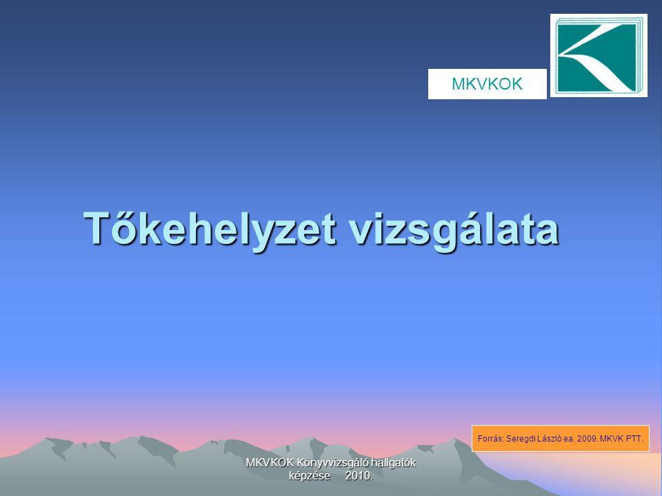 MKVKOK Könyvvizsgáló hallgatók képzése 2010. Tőkehelyzet vizsgálata MKVKOK Forrás: Seregdi László ea. 2009. MKVK PTT.