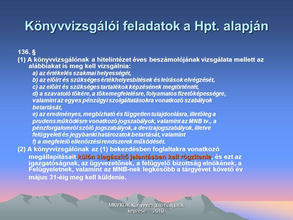 MKVKOK Könyvvizsgáló hallgatók képzése 2010.Könyvvizsgálói feladatok a Hpt.