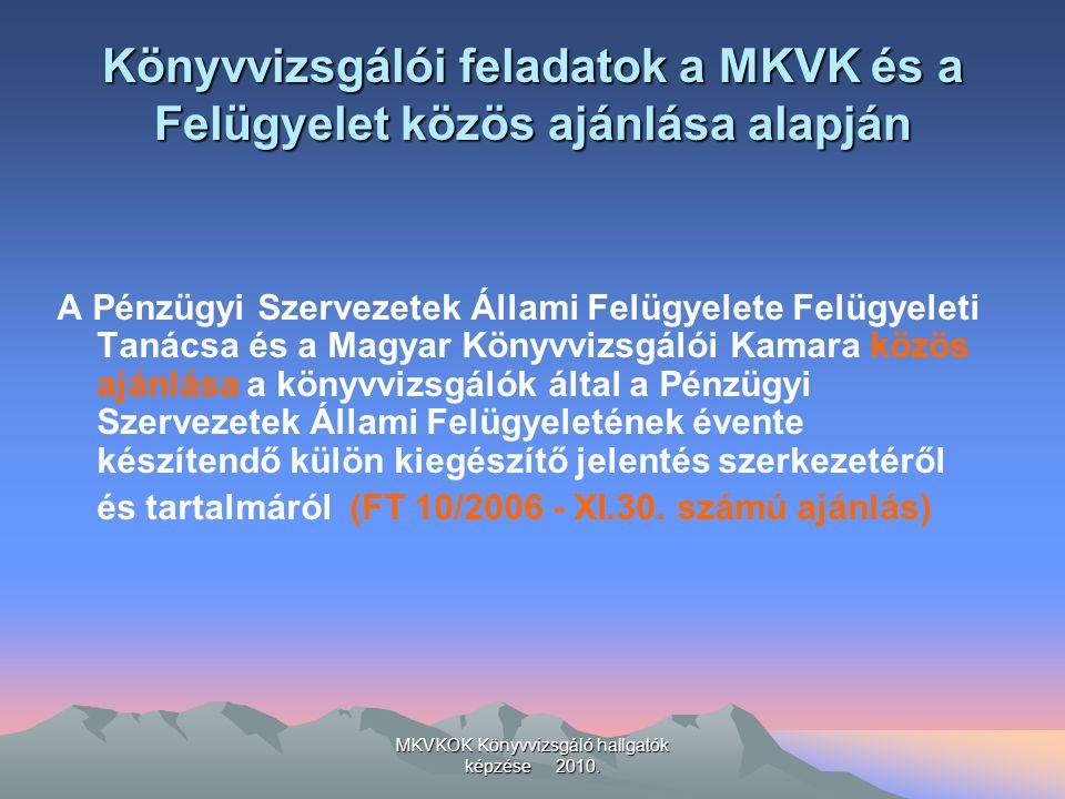 MKVKOK Könyvvizsgáló hallgatók képzése 2010. Könyvvizsgálói feladatok a MKVK és a Felügyelet közös ajánlása alapján A Pénzügyi Szervezetek Állami Felü