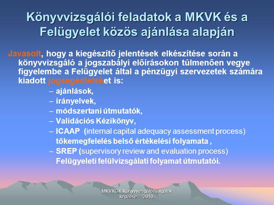 MKVKOK Könyvvizsgáló hallgatók képzése 2010. Könyvvizsgálói feladatok a MKVK és a Felügyelet közös ajánlása alapján Javasolt, hogy a kiegészítő jelent