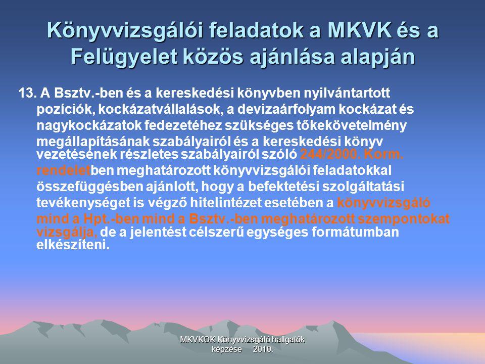 MKVKOK Könyvvizsgáló hallgatók képzése 2010. Könyvvizsgálói feladatok a MKVK és a Felügyelet közös ajánlása alapján 13. A Bsztv.-ben és a kereskedési