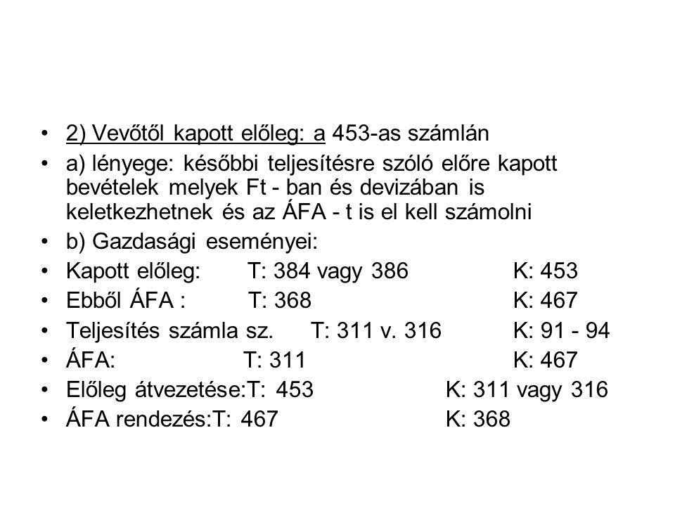 2) Vevőtől kapott előleg: a 453-as számlán a) lényege: későbbi teljesítésre szóló előre kapott bevételek melyek Ft - ban és devizában is keletkezhetnek és az ÁFA - t is el kell számolni b) Gazdasági eseményei: Kapott előleg: T: 384 vagy 386 K: 453 Ebből ÁFA : T: 368 K: 467 Teljesítés számla sz.T: 311 v.