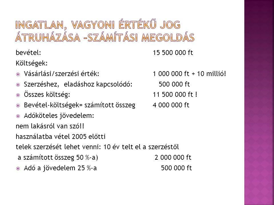 bevétel: 15 500 000 ft Költségek:  Vásárlási/szerzési érték: 1 000 000 ft + 10 millió.