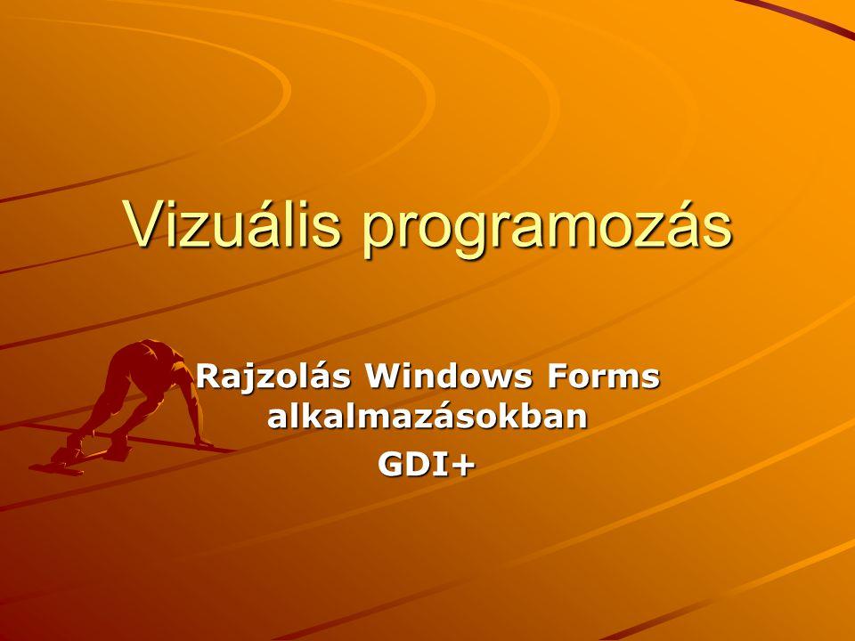 Vizuális programozás Rajzolás Windows Forms alkalmazásokban GDI+