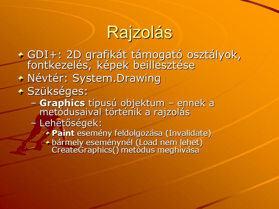Rajzolás GDI+: 2D grafikát támogató osztályok, fontkezelés, képek beillesztése Névtér: System.Drawing Szükséges: –Graphics típusú objektum – ennek a m