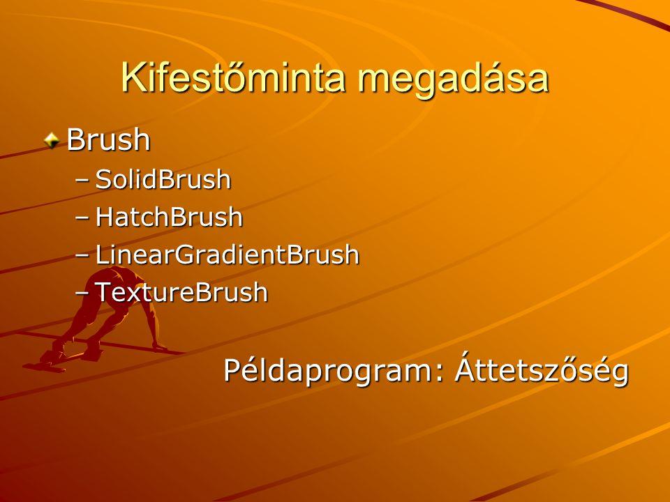 Kifestőminta megadása Brush –SolidBrush –HatchBrush –LinearGradientBrush –TextureBrush Példaprogram: Áttetszőség