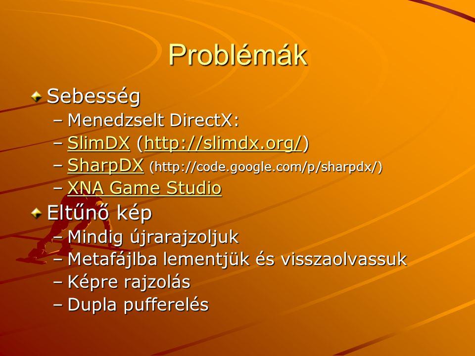 Problémák Sebesség –Menedzselt DirectX: –SlimDX (http://slimdx.org/) SlimDXhttp://slimdx.org/SlimDXhttp://slimdx.org/ –SharpDX (http://code.google.com