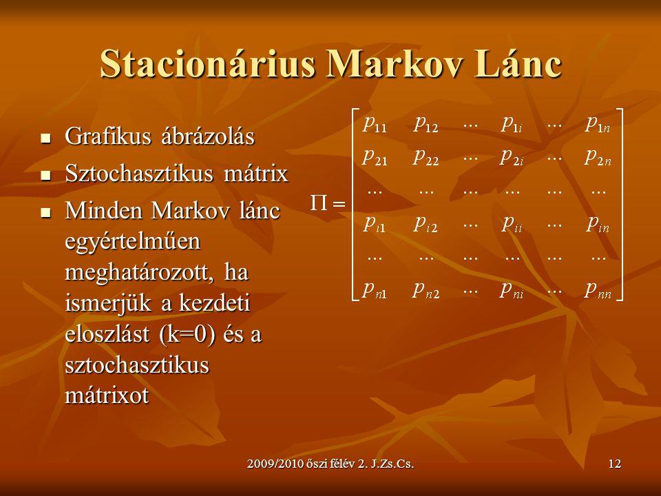 2009/2010 őszi félév 2. J.Zs.Cs.12 Stacionárius Markov Lánc Grafikus ábrázolás Grafikus ábrázolás Sztochasztikus mátrix Sztochasztikus mátrix Minden M
