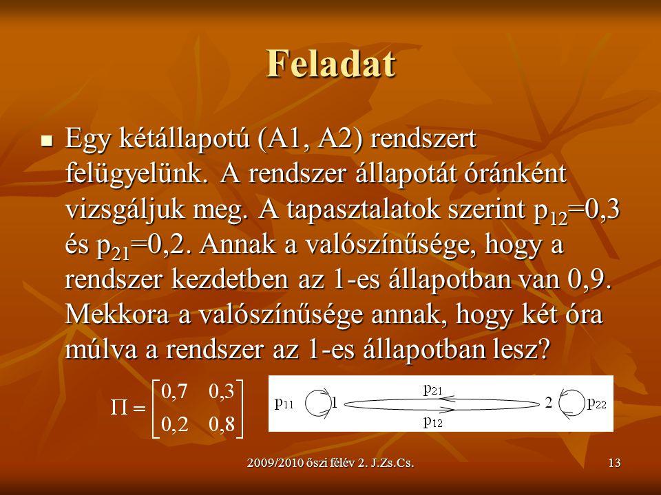 2009/2010 őszi félév 2. J.Zs.Cs.13 Feladat Egy kétállapotú (A1, A2) rendszert felügyelünk. A rendszer állapotát óránként vizsgáljuk meg. A tapasztalat