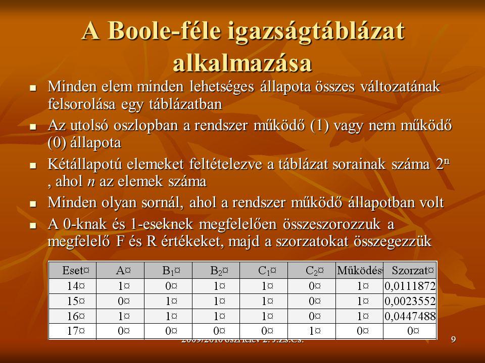 2009/2010 őszi félév 2. J.Zs.Cs.9 A Boole-féle igazságtáblázat alkalmazása Minden elem minden lehetséges állapota összes változatának felsorolása egy