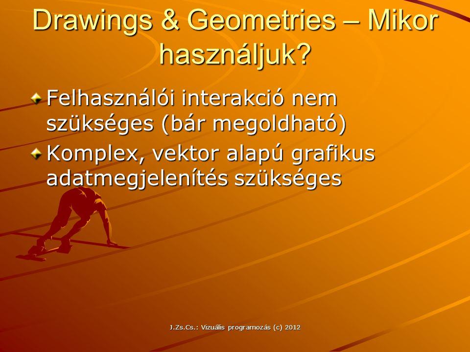 Drawings & Geometries – Mikor használjuk? Felhasználói interakció nem szükséges (bár megoldható) Komplex, vektor alapú grafikus adatmegjelenítés szüks