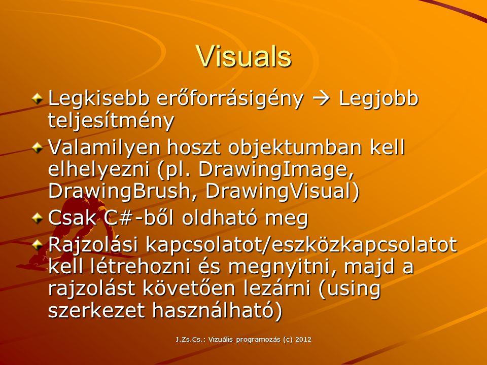 Visuals Legkisebb erőforrásigény  Legjobb teljesítmény Valamilyen hoszt objektumban kell elhelyezni (pl. DrawingImage, DrawingBrush, DrawingVisual) C