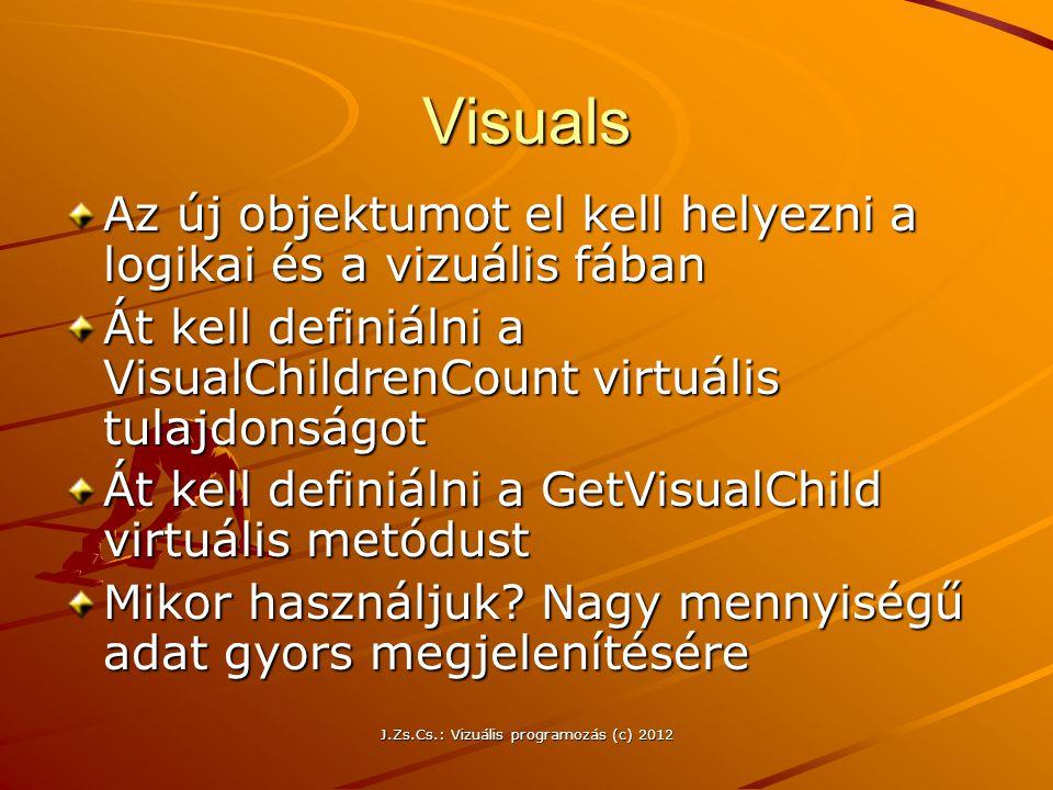Visuals Az új objektumot el kell helyezni a logikai és a vizuális fában Át kell definiálni a VisualChildrenCount virtuális tulajdonságot Át kell defin