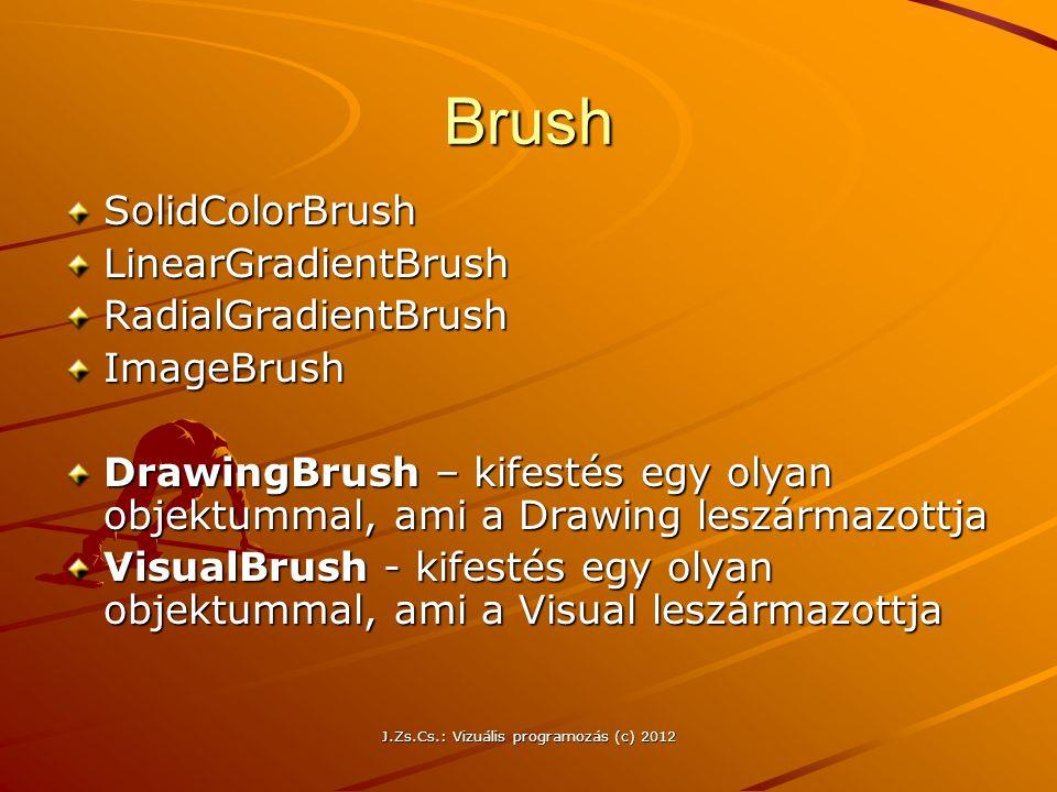 Brush SolidColorBrushLinearGradientBrushRadialGradientBrushImageBrush DrawingBrush – kifestés egy olyan objektummal, ami a Drawing leszármazottja Visu