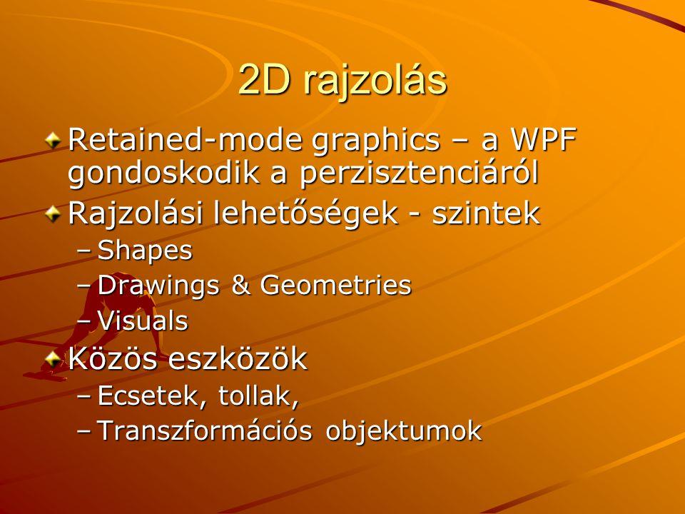2D rajzolás Retained-mode graphics – a WPF gondoskodik a perzisztenciáról Rajzolási lehetőségek - szintek –Shapes –Drawings & Geometries –Visuals Közö